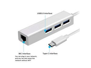 USB-C to USB 3.0 3-Port Hub with Ethernet Converter for USB C Devices Including The New MacBook 2016, Chrome Book Pixel Mac OS X and More, Silver Aluminum
