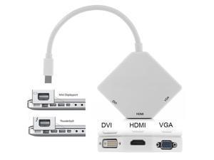 Mini DP DisplayPort Thunderbolt to VGA HDMI DVI Converter Video Adapter for MacBook Microsoft Surface Pro 1 2 3 to TV Projector-Black