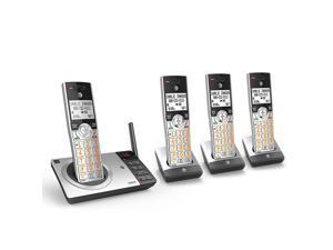 AT&T CL82407 DECT 6.0 Expandable Cordless Phone with Answering System & Smart Call Blocker, Silver/Black with 4 Handsets