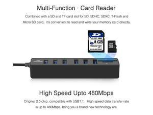 Multi USB 2.0 Hub USB Splitter High Speed 6 Ports with TF SD Card Reader