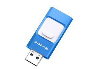 POFAN F01 128GB 8pin & Micro USB to USB 2.0 Mini Push-pull Metal Flash Disk Drive with Fingerprint Identification, For iPhone & iPad & iPod & Android Devices, Size: 54 x 23 x 9 mm(Dark Blue)