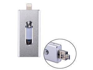 RQW-02 3 in 1 USB 2.0 & 8 Pin & Micro USB 128GB Flash Drive, for iPhone & iPad & iPod & Most Android Smartphones & PC Computer(Silver)