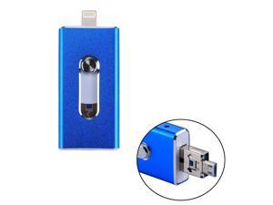 RQW-02 3 in 1 USB 2.0 & 8 Pin & Micro USB 128GB Flash Drive, for iPhone & iPad & iPod & Most Android Smartphones & PC Computer(Blue)