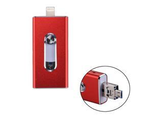 RQW-02 3 in 1 USB 2.0 & 8 Pin & Micro USB 128GB Flash Drive, for iPhone & iPad & iPod & Most Android Smartphones & PC Computer(Red)