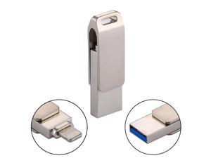 RQW-10G 2 in 1 USB 2.0 & 8 Pin 128GB Flash Drive, for iPhone & iPad & iPod & Most Android Smartphones & PC Computer