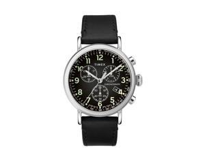 Timex Standard Chrono 41mm Leather Strap Silver-Tone/Black Watch TW2T21100VQ
