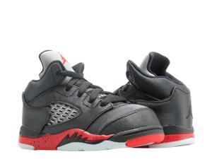 56184244d9b0 Nike Jordan 5 Retro (TD) Satin Black Red Toddler Kid Basketball Shoe 440890