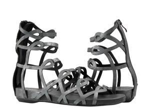 Antelope 129 Laser Cut Gladiator Black Metalic Women's Sandals 129-BLACK Size 40 EUR
