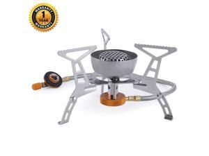Ultralight Portable Camping Stoves Foldable Windproof Outdoor Backpacking Stove Small Camping Gas Stove Propane Butane Burner Mini Collapsible Camping Cookware Cookout Stove for Picnic Hiking