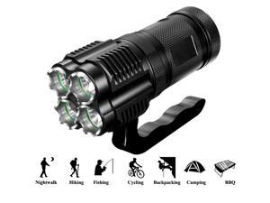 3000 Lumens High Power Tactical Handheld Flashlight Torch Rechargeable Bright Spotlight Waterproof CREE XML-T2 LED Searchlight Floodlight Light For Outdoor Camping Lantern Hiking Hunting Black