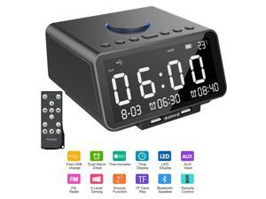 Alarm Clock FM Radio with Wireless Bluetooth Speaker Player Dual Alarm USB Charge Port TF Card Play Dimmable LED Display Temperature/Day/Date Display Nap & Sleep Timer Snooze Night Light for Bedroom