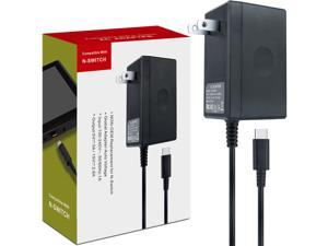 Nintendo Switch AC Adapter - Nintendo Switch Charger with 5 FT Power Supply Cord and Type C Fast Charging kit - 15V 2.6A AC Adapter for Nintendo Switch Supports TV Mode and Dock Station