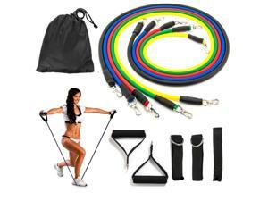 Resistance Bands Set, Exercise Bands, Fitness Bands Include 5 Exercise Bands, Door Anchor, Foam Handles, Ankle Straps and Waterproof Carrying Case, for Resistance Training , Sports & Outdoors
