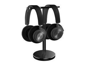 Dual Headphone Stand Aluminum Metal Desk Headset Holder Bracket Desktop Earphone Hanger Mount for Beats Sennheiser Sony Audio-Technica Bose Shure AKG JBL Logitech Razer Gaming Headphones etc Black
