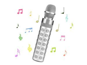 Portable Wireless Karaoke Microphone Bluetooth Speaker Support TF Card Playing for Apple iPhone Android Smartphone or PC, Home KTV Outdoor Party Music Playing Singing