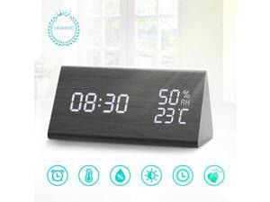 Digital Alarm Clock LED Wooden Alarm Clock, 3 Levels Adjustable Brightness Dimmer and Triple Alarms, Big Digit Display Date, Temperature and Humidity for Home Bedrooms