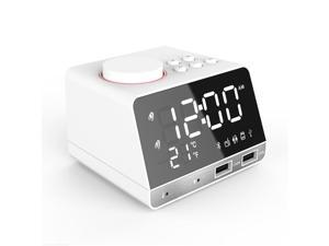 4.2 Inch Alarm Clock Radio, Bluetooth Speaker with Dual Snooze Clock USB Charging Port, AUX TF Card Play, Thermometer, Large Mirror LED Dimmable Display for Bedroom, Kitchen, Hotel, Table, Desk