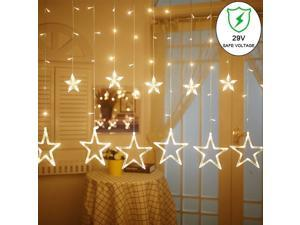 LED Star Curtain String Light, 138 LEDs Fairy Hanging Strip Lamp Window Christmas Light for Bedroom Kids Room Wedding Party Hallowen Birthday Tree Supplies