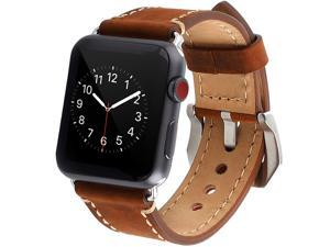 For Apple Watch Band 38mm Genuine Leather iWatch Bands Strap Vintage Brown with Stainless Metal Clasp for Apple Watch Series 3 Series 2 Series 1 Sport Edition