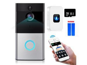 WIFI Video Doorbell Smart Doorbell 720P HD Security Camera with Chime 8G Memory Storage Real-Time Two-Way Talk and Video Night Vision PIR Motion Detection and App Control for IOS and Android