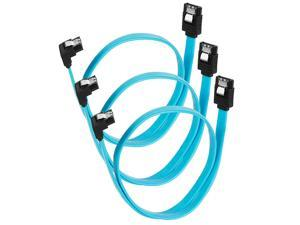 """WERLEO SATA III Cable [3-Pack] SATA 6Gbps 90 Degree Cable plug with Lock Latch for With Serial ATA hard drives HDD, SSD, etc Blue - 18"""""""