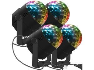 4 Pack LED Stage Party Lighting Werleo 7 Color Changing Sound Active 3W RGB Auto Rotating Mini Crystal LED Dream Magic Ball for Disco DJ, Show, Xmas KTV, Wedding, Club Pub, Theater