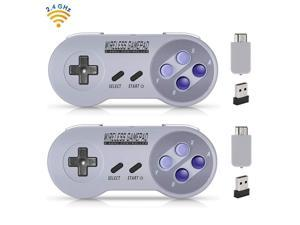 Werleo 2-Pack 2.4GHz Wireless Controller for SNES Classic Edition Rechargeable SNES Mini Wireless Gamepad with Retro USB Receiver for Super NES Classic Edition