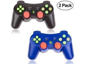 PS3 Controller Wireless 2 Packs Double Shock Gamepad for Playstation 3 Remotes Sixaxis Wireless PS3 Controller with Charging Cable - Blue and Black