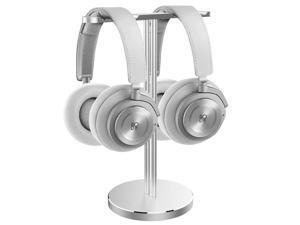 Dual Headphone Stand Aluminum Metal Desk Headset Holder Bracket Desktop Earphone Hanger Mount for Beats Sennheiser Sony Audio-Technica Bose Shure AKG JBL Logitech Razer Gaming Headphones etc and More