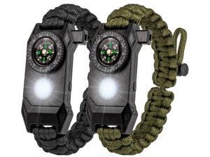 2 Packs Survival Paracord Bracelet with Compass Fire Starter LED Light SOS Emergency Knife Whistle for Outdoor Camping Hiking Travel