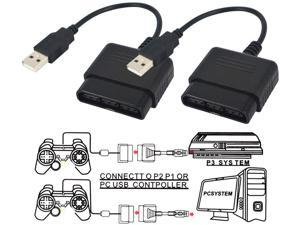 Werleo PlayStation 2 Controller to USB Adapter for PC or Playstation 3 Converter Cable for Sony DualShock PS2 PS3 Controllers - 2 Packs