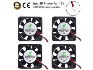 Werleo 4pcs 3D Printer Fan 12V 0.08A DC Mini Quiet Cooling Fan 40X40X10mm with 28cm Cable for 3D Printer, DVR,and Other Small Appliances Series Repair Replacement