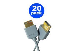 20 Count 5 Foot HDMI 2.0 Cable in Gray , Supports 4K@60Hz, 3D, HDTV, UHD, Ethernet, ARC, DIRECTV, Dish Network, Comcast, Fios (Lot of 20)