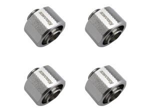 """Koolance G1/4"""" Compression Fitting for Soft Tubing with 13mm ID x 19mm OD (1/2in x 3/4in), Nickel, 4-pack"""