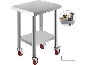 VEVOR 24x18 Inch Stainless Steel Work Table 3 Stage Adjustable Shelf with 4 Red Wheels