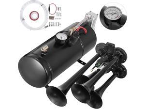 VEVOR 4 Trumpet Train Horns kit 150DB Super Loud with 120 PSI 12V Air Compressor 0.8 Gallon Air Horn Compressor Tank