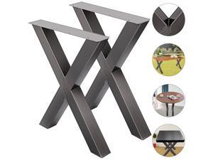 """VEVOR Set of 2 Steel Table Legs 28""""x24"""" Stainless Metal Dining Table Legs (X-Shape/A)"""