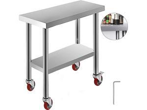 VEVOR 30x12x34 Inch Stainless Steel Work Table 3 Stage Adjustable Shelf with 4 Red Wheels