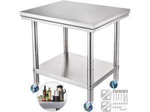 VEVOR 24 x 30 x 32 Inch Stainless Steel Work Table with casters Heavy Duty Work Table
