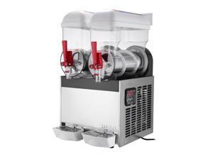 VEVOR Slush Slushy Making Machine 15L x 2 Tanks Frozen Drink Slush Machine Commercial Smoothie Maker with Spigot