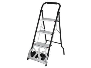 VEVOR 3-Steps Ladder Cart 2-in-1 Convertible Step Ladder Folding Hand Truck with Trolley