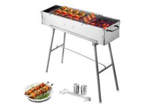 """VEVOR Portable Charcoal Grill 32"""" x 8"""" Stainless Steel Kebab Grill Folding Leg BBQ Grill Outdoor Barbecue Grill"""