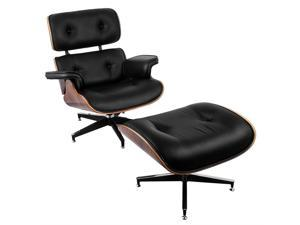 VEVOR Lounge Chair and Ottoman Mid Century Modern Classic Design Replica Style Lounge Chair Walnut Veneer Molded Plywood Frame PU Leather Lounge Recliner Chair with Foot Stool Ottoman