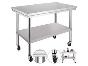 VEVOR 36x24 Inch Stainless Steel Work Table with 4 Wheels Commercial Food Prep Worktable with Casters