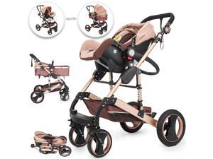 VEVOR 3 in 1 Luxury Baby Stroller with Portable Seat For Newborn Folding Carriage