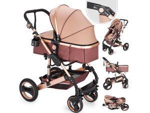 VEVOR 2 in 1 Baby Stroller Baby Carriage Stroller Portable Anti-Shock Springs Infant Pushchair