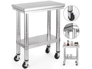VEVOR 12x24 Inch Stainless Steel Work Table with Wheels Heavy Duty Work Table
