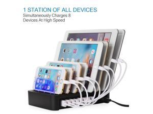 96W 8-Port USB Charging Station Detachable Multi USB Charging Dock Universal Desktop Tablet Phone Charging Station Stand Organizer for iPhone Samsung