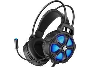 HP Gaming Headset with Bass Surround Sound, LED Light and Noise isolating Over Ear Headphone with mic Plus 3.5mm USB Cable for Laptop Mac Nintendo Switch Games, All Day Comfort