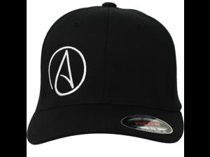 9e64f5ec93492 Atheist Offset Symbol Curved Bill Baseball Hat Flexfit-Black ...